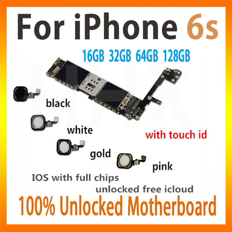 Original For iPhone 6s motherboard with touch ID black/white/gold/pink  16gb/32gb/64gb/128gb unlocked