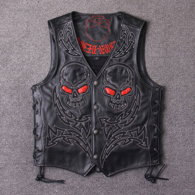 VINTAGE SKULL EMBROIDERY GENUINE COW LEATHER VEST (3 VARIAN)
