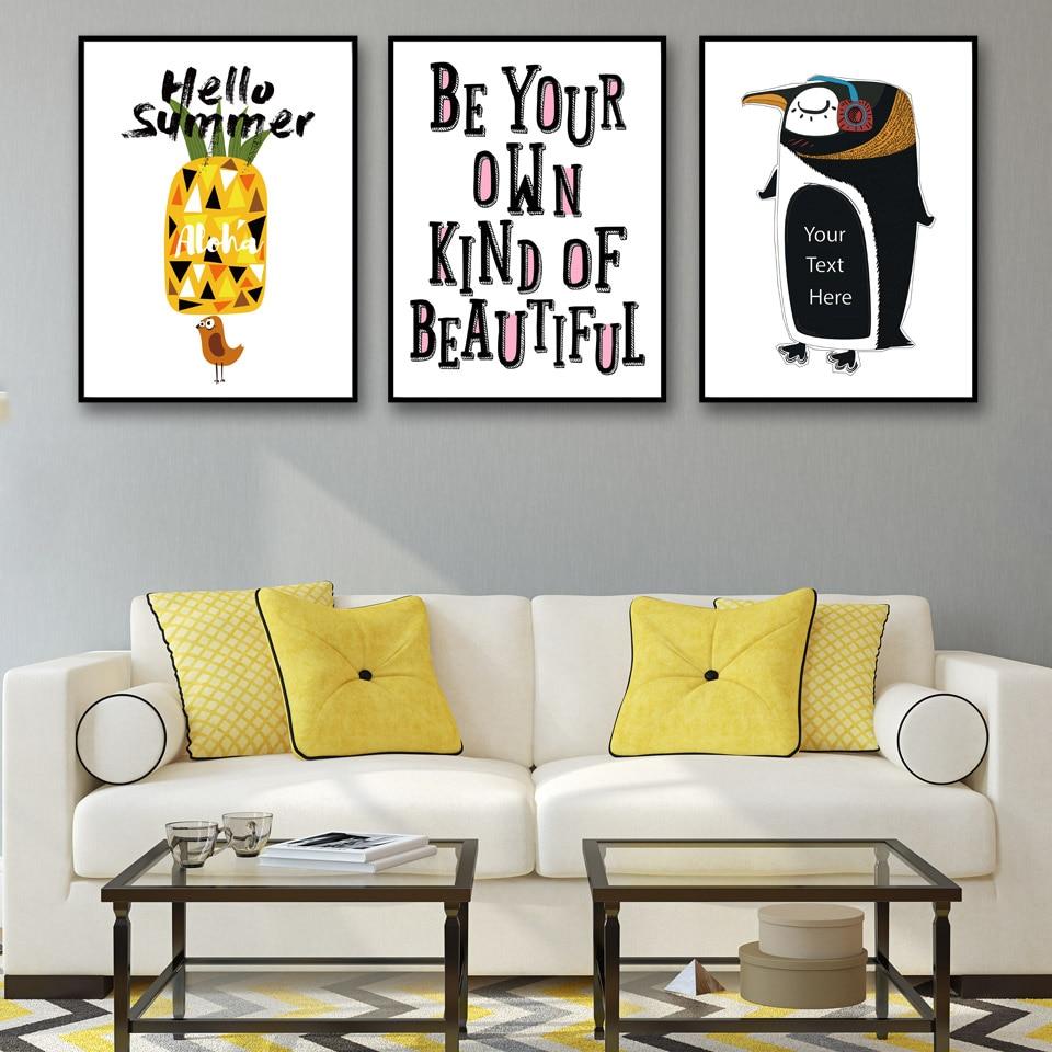 Abstract Pineapple Bird Letter Penguin Cartoon Poster Wall