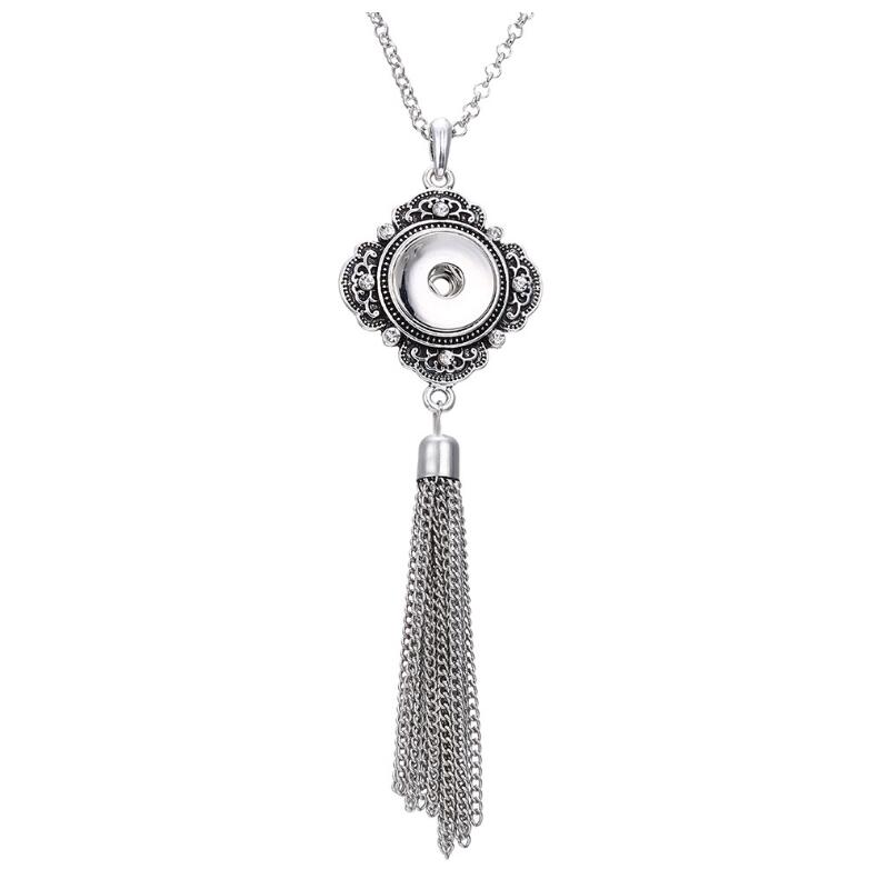 Women's Vintage Tassel 18mm/20mm DIY Snap Buttons Long Rhinestone Necklace Boho Necklaces & Pendants DIY Jewelry