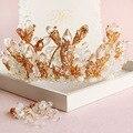 Os novos conjuntos de jóias de noiva de ouro brincos de noiva acessórios do cabelo do casamento coroas com brincos conjuntos de jóias de cristal Barroco