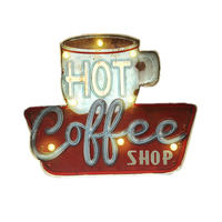 Vintage Hot Coffee Shop LED Neon Light Metal Signs Cafe Bar Pub Decorative Signboard Wall Painting Home Decor Advertising Sign