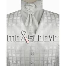 New arrival free shipping Mens Suit white Tuxedo Dress Vest (vest+ascot tie+cufflinks+handkerchief)