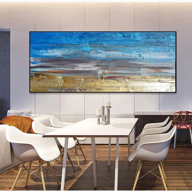 Muya Décor Mural Peinture Bleu Acrylique Toile Photos Pour Salon