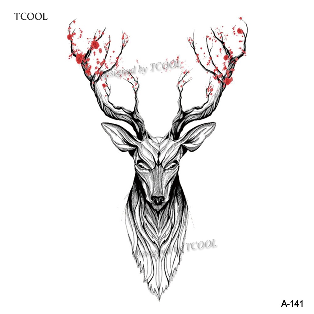 HXMAN Deer Temporary Tattoo Sticker Waterproof Women Body Art Tatoo Animal Hand Tattoos Paper 9.8X6cm A-141
