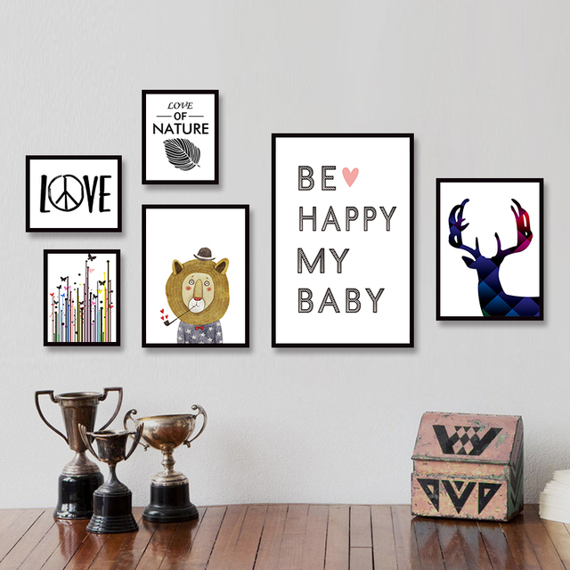 Modern minimalist nordic black white kawaii animals large art prints poster kids room home decor wall