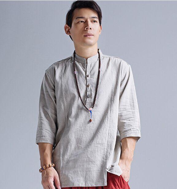 Camisas de los hombres 2016 de estilo Chino de lino