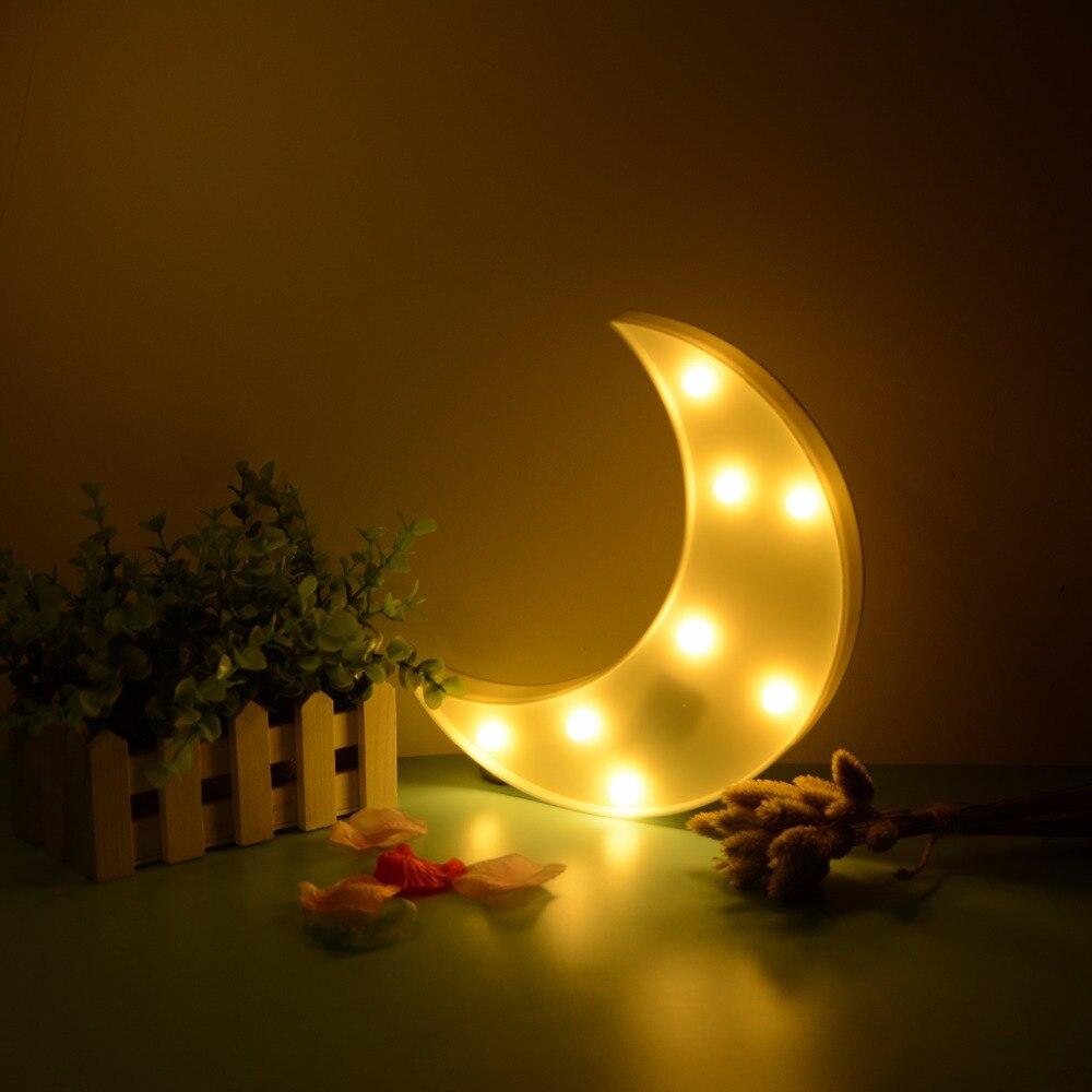 Moon Pattern Led Night Light Festival Kids Bedroom Art Decor Lucky Xmas Party Decoration Lamp Luminaria Supplies