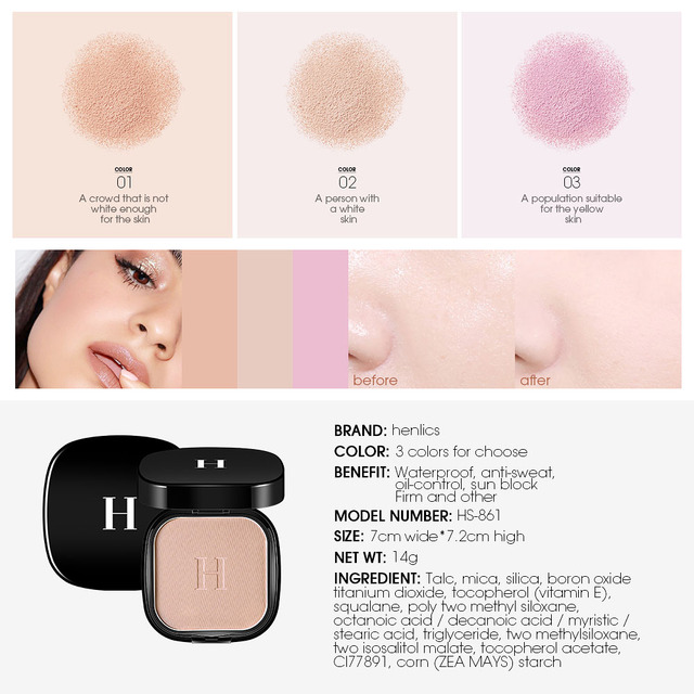 HENLICS Makeup Face Pressed Powder Foundation Super Waterproof Whitening Brighten Matte Powder Palette Contour Makeup Powder 2
