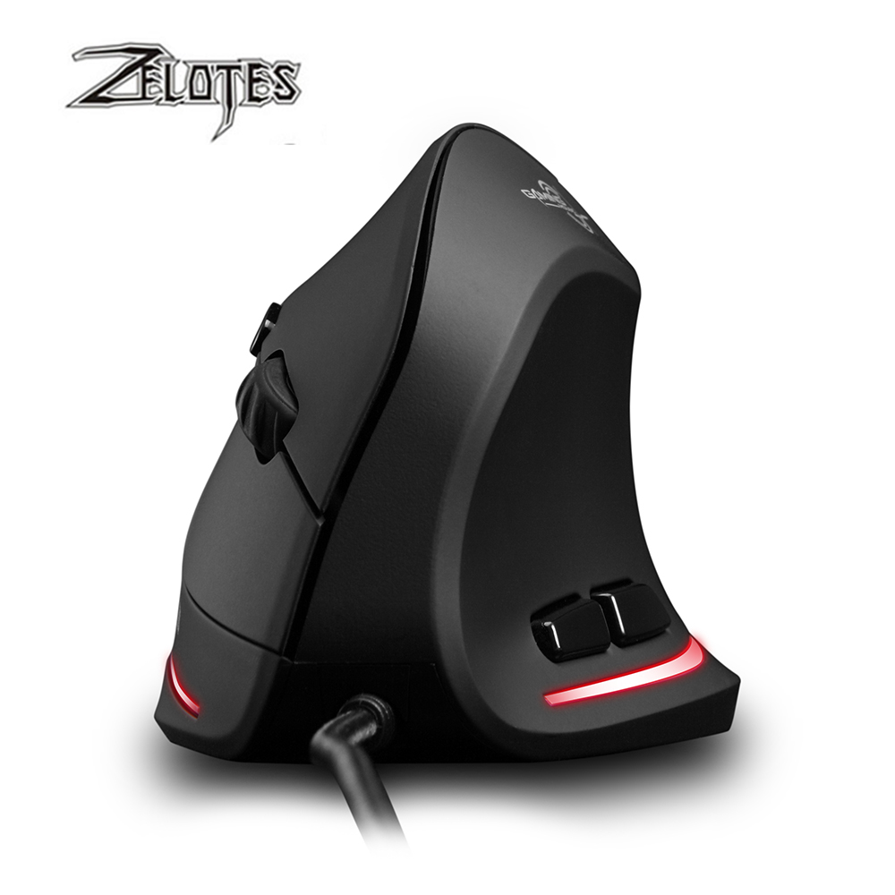 Image 3 - ZELOTES T 20 Vertical Wired Mouse USB Programmable 6 Buttons Optical LED Mice Desktop PC 3200DPI Adjustment 3D Gaming Mouse-in Mice from Computer & Office