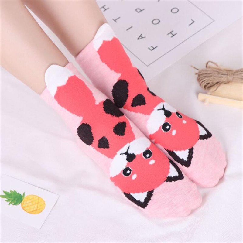 MYORED 5pairs woman short socks women 39 s cotton cartoon animal for woman casual dress gift socks Calcetines de dibujos animados in Socks from Underwear amp Sleepwears