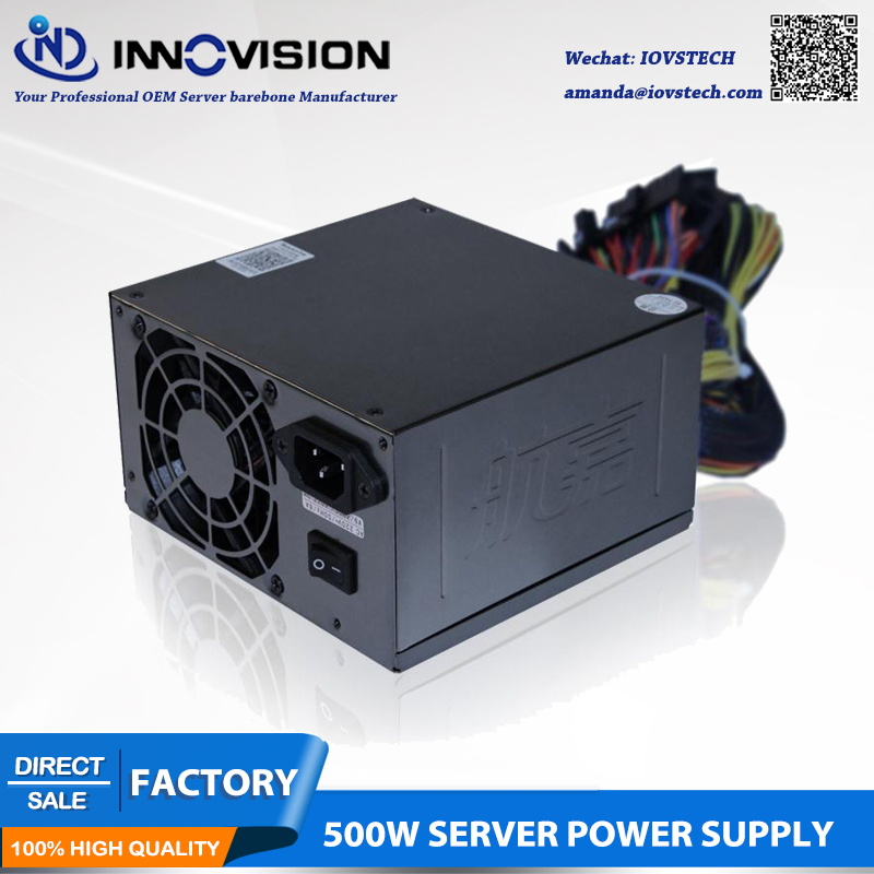 Rated 500W server power supply ATX PSU with 10 sata for Intel Dual CPU Amd Dua Opetron server user