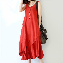 New Fashion Summer style Sleeveless linen Cotton Long Dress Asymmetrical Loose Casual Maxi Dress Top Quality Women Dresses