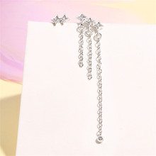 boho long tassel 2019 women's earring for women 925 sterling sliver asymmetrical cross star drop earring fashion jewelry SE690(China)
