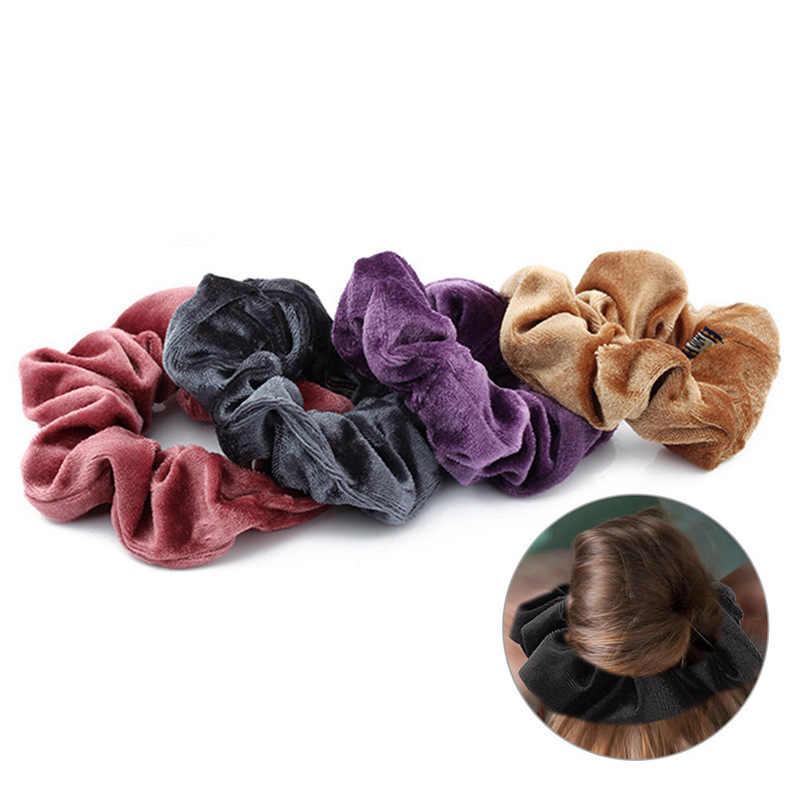 Горячие Женские Элегантные Бархатные Твердые эластичные резинки для волос держатель конского хвоста резинки для волос повязка на голову женские аксессуары для волос