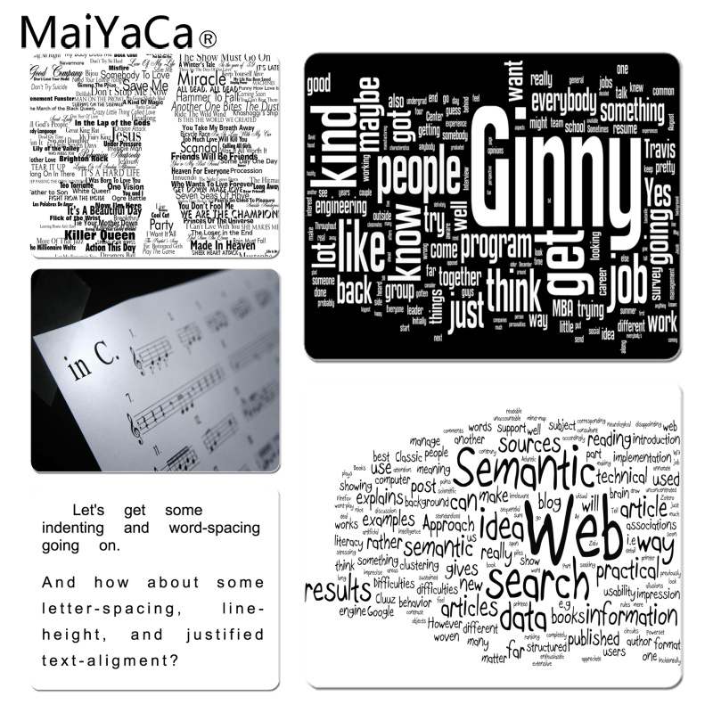MaiYaCa Text Large Mouse pad PC Computer mat Size for 18x22x0.2cm Gaming Mousepads