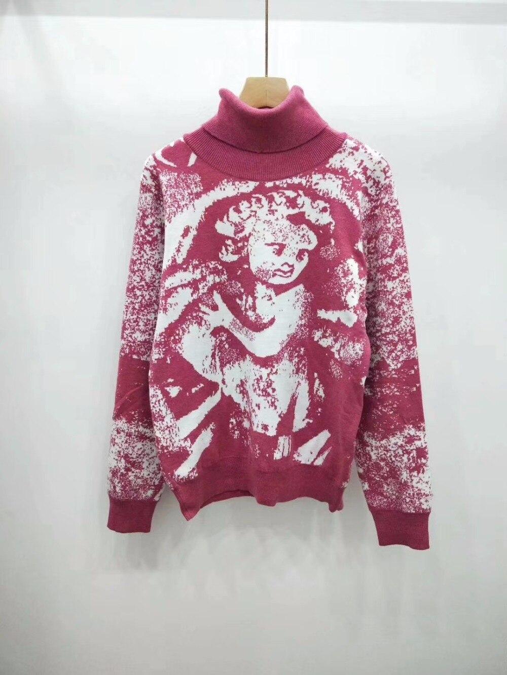 Blusas de gola alta Rosa Top Grosso Mulheres Elegantes Manga Comprida Stretchy Moda 2018 Novos Pullovers Blusas Femininas de Alta Qualidade