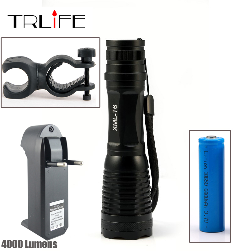 LED CREE XM L T6 Flashlight 8000 Lumens Torch High Power Focus Zoomable Cycling Bike Bicycle