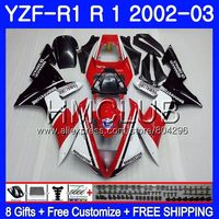 Body For YAMAHA YZF 1000 YZF R 1 YZF 1000 YZFR1 02 03 109HM.9 YZF1000 YZF R1 2002 2003 YZF R1 03 02 Fairings Red white !! Frame