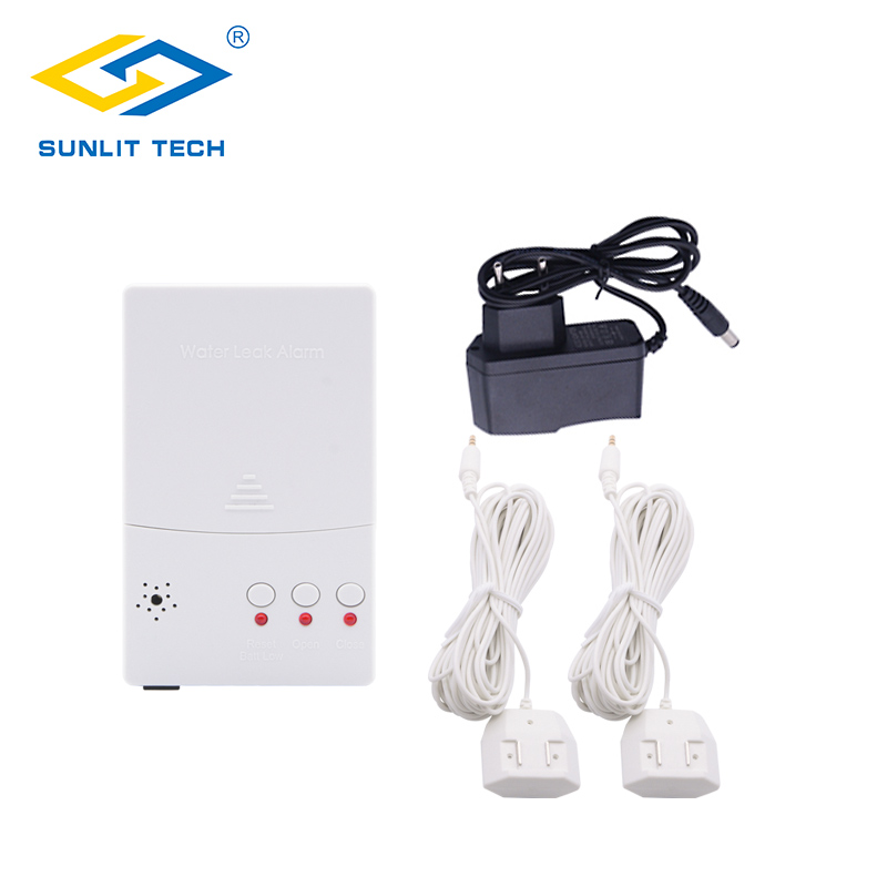 Russia Ukrain Battery Powered Water Leak Detector 85dB Water Flood Overflow Detection Alarm System with 2pcs Sensitive Sensor portable water leak detector flood detection sensor leak alarm with sensitive water cable and valve connection cable