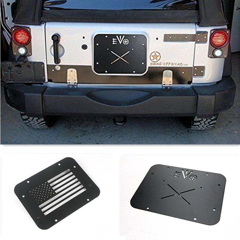 Prix pour Noir EVO Américain Bannière Drapeau License plate Mont Hayon Couvercle De Ventilation Pour Jeep Wrangler JK 07-16 Nouveau