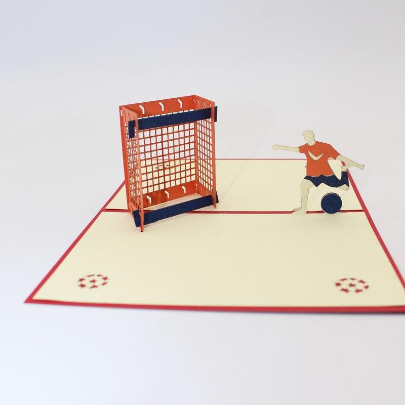 3D Handmade Playing Football Boy Paper Invitation Greeting Cards ...