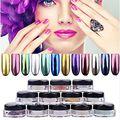 12 Colores Diy Brillante Pigmento de Cromo Espejo Del Polvo de Uñas de Metal Uñas Decoración Glitters