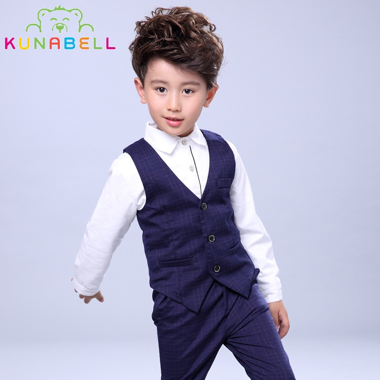 Baby Boys Birthday Dress Formal Suit Clothes Set Shirt Waistcoat Pants Wedding Party Gentleman Kids Children Vest Costumes F16
