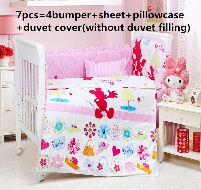 Promotion! 6/7PCS Cartoon Baby Kit Crib Cot Bedding Sets Baby Bumpers Sheet Dust Ruffle ruffle trim sheet set