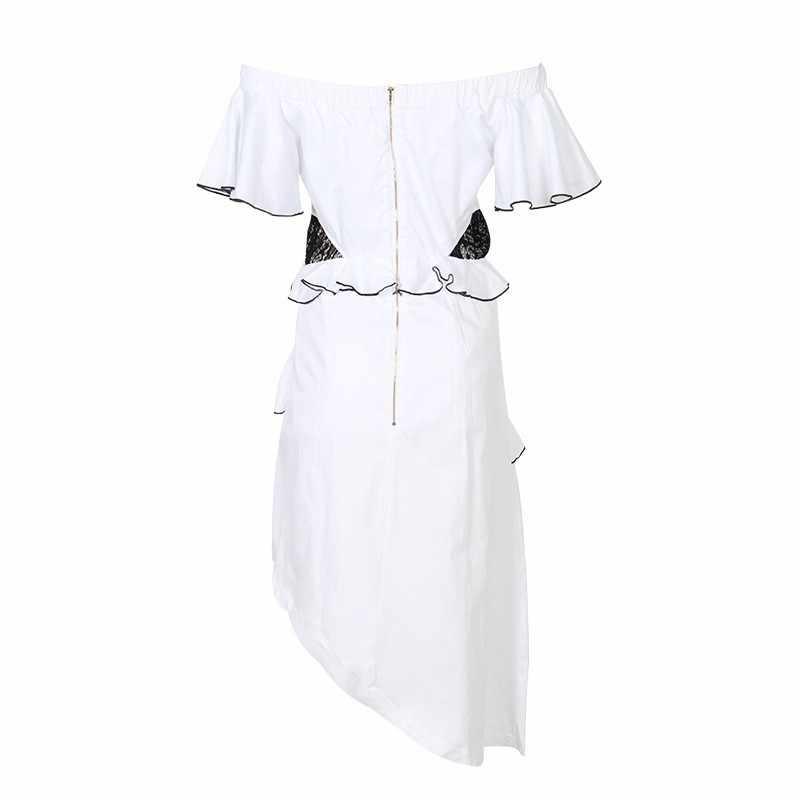TWOTWINSTYLE Verão Fora do Vestido de Ombro Para As Mulheres Cortar Pescoço Manga Curta de Cintura Alta Ruffles Assimétrica Vestidos de Moda Feminina