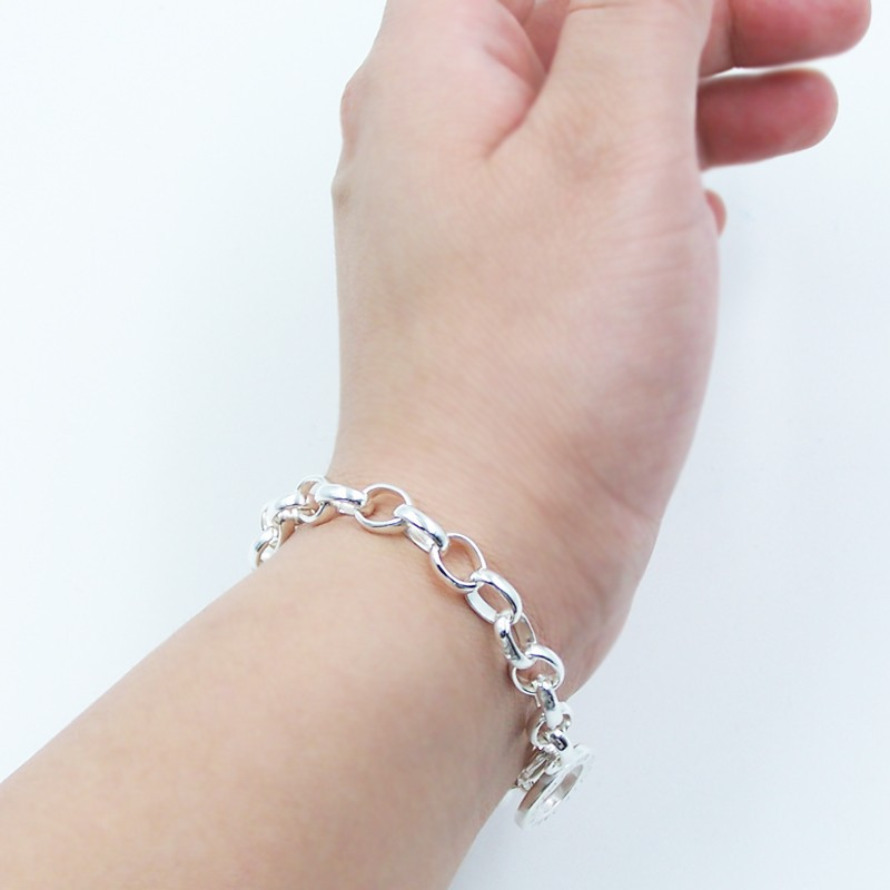 Link Chain 925 Sterling Silver Basic Bracelets with Carrier s