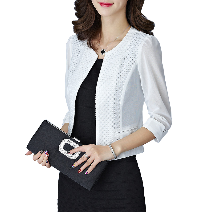 Elegant Solid Colar Women Cardigan Short Coat Mesh Pacthwork Hollow Transparent Slim Crop Top Ladies Office Wear Blazer Jacket