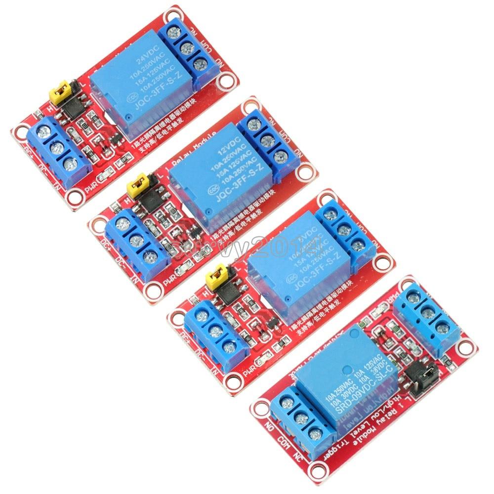 DC 5V//9V//12V//24V 1 Channel Optocoupler Relay Module Support High and Low Trigger