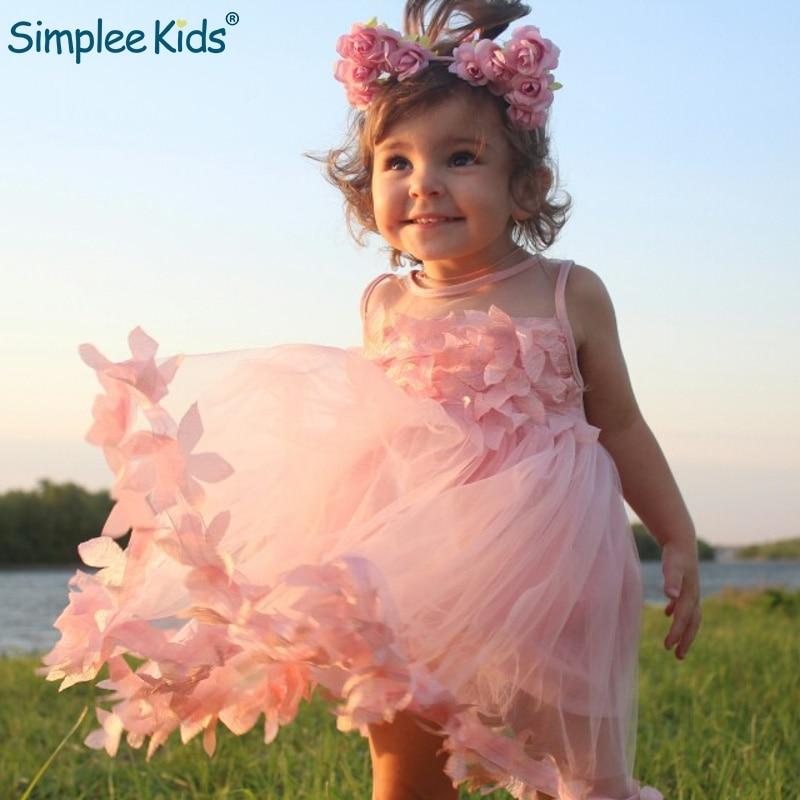 2715167ee5d5599 Simplee/Детские платья для девочек, летнее кружевное платье принцессы,  Сетчатое свадебное платье с