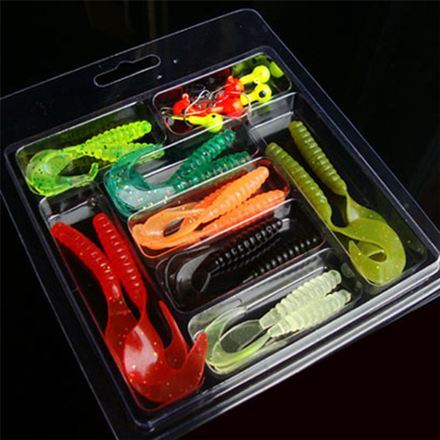 Fishhook 25pcs Silicone Soft Worm Shrimp Sea Fishing Tackle Crank Bait Artificial Bait Tackle Fish Lures Lead Fish Jig M20 ...