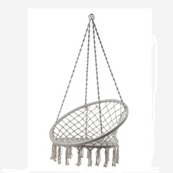 Silla de columpio tejida hecha a mano cuerda de algodón al aire libre Patio jardín hamaca silla columpio perfecto para casa interior/exterior, patio cubierta