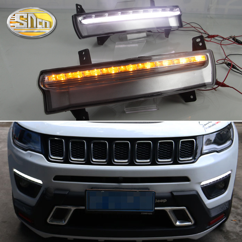 SNCN 2PCS LED Daytime Running Light For Jeep Compass 2017 2018 Flowing Turn Yellow Signal Funciton 12V DRL Fog Lamp Decoration sncn led daytime running light for ford focus 4 mk4 2015 2018 yellow turn signal relay waterproof 12v drl fog lamp decoration