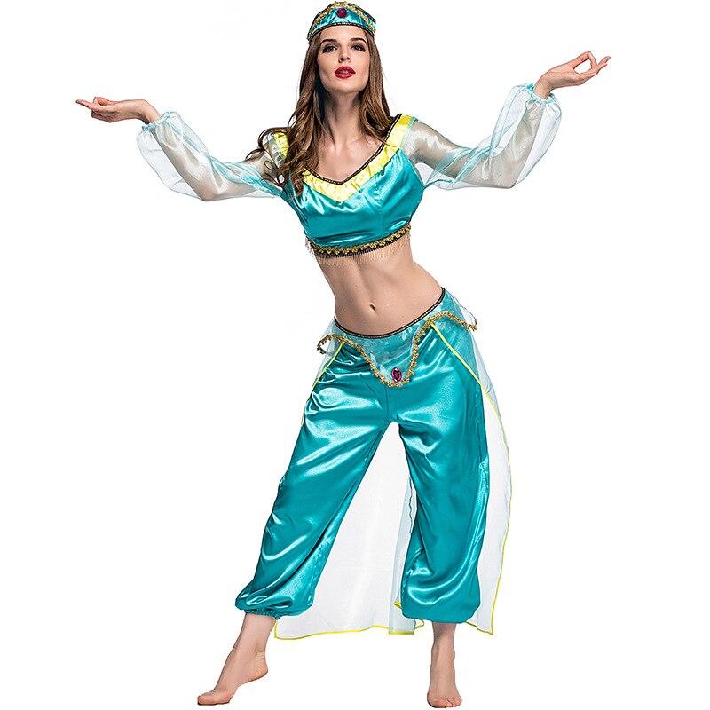 Women Aladdin Lamp Princess Jasmine Costume Halloween Party Belly Dance Outfit Aladdin Lamp Cosplay Fantasia Fancy Dresses Принцесса Жасмин