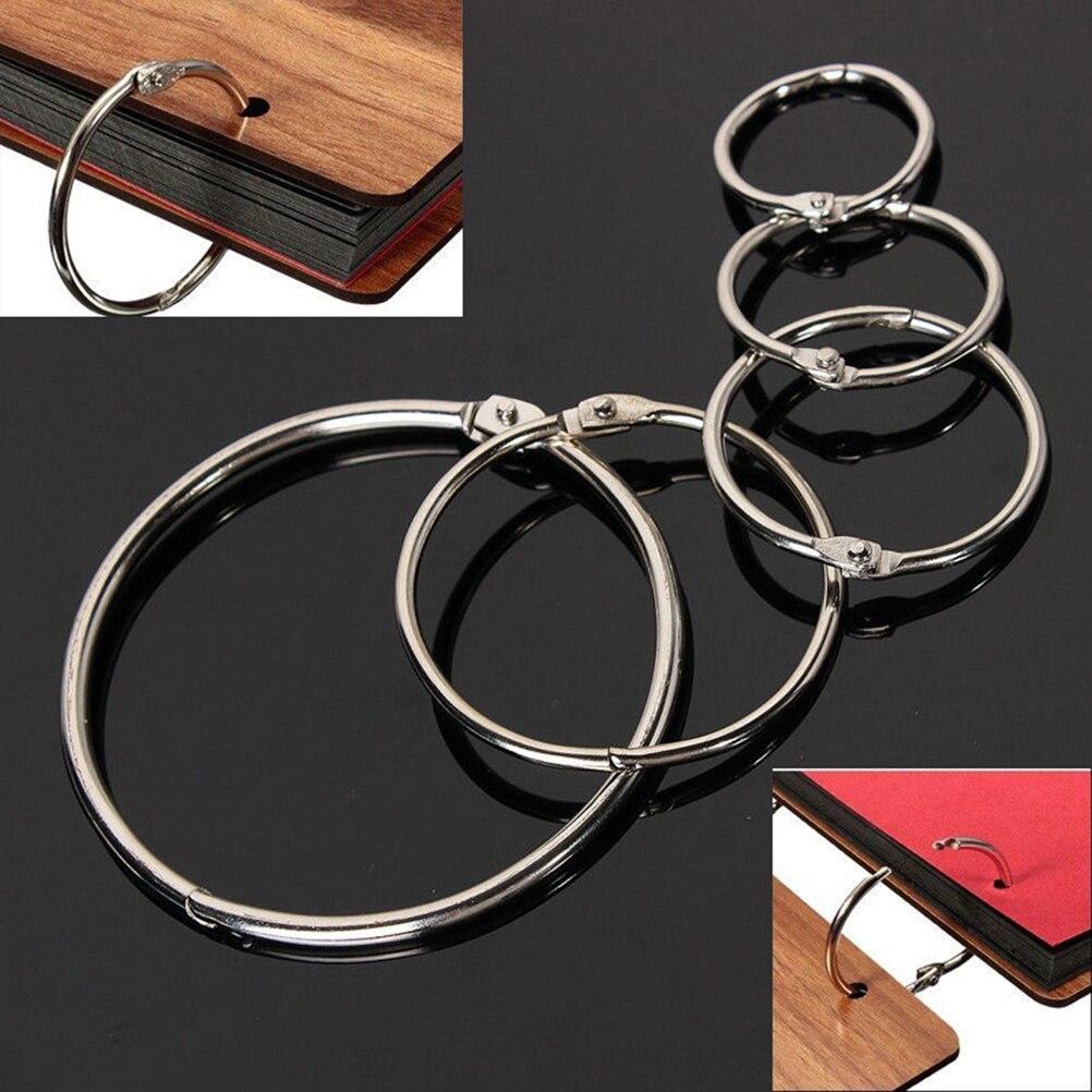 10Pcs Metal Ring Binder Loose Leaf Book Hoops Hinged Rings Keychain Binders DIY Craft Photo Album Scrapbook Split Ring 19mm-75mm
