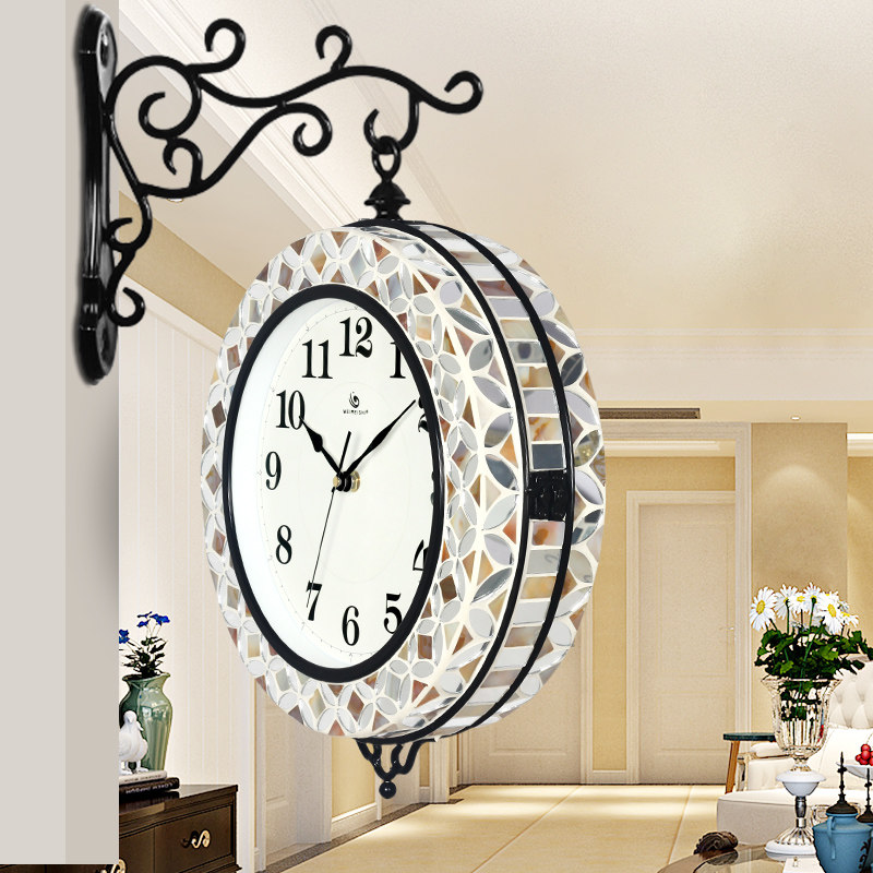 Living room double sided clock Mediterranean fashion creative quartz wrought iron glass shell mute wall clock