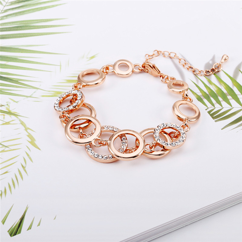 2018 Rose Gold Multilayers Circles Crystal Bracelet & Bangles for Woman Rhinestones Paved Double Layer Round Female Bracelets