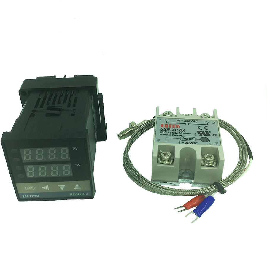 REX-C100 digital thermostat temperature controller SSR output K type thermocouple sensor 48 x 48 +SSR 40DA solid relay+sensor