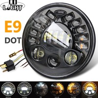 COLIGHT Amber LED Round 7 Motorcycle Headlight with Turn Signal for Harley Chopper Cafe Racer Bobber 6000K 3000K H4 70W 40W DRL