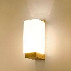 Drewniane ściany światła lampy nowoczesne Nordic styl E26 E27 żarówka ściana światła matowe szklany klosz + drewno lampki nocne noc światło dla domu
