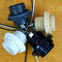 E27 Duyları Plastik Vida ağızlı Tam diş lamba tutucu tel 600 MM Ile Lamba kapağı Aydınlatma aksesuarları Saf bakır çekirdek