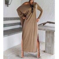 2019 Sexy Women Maxi Dresses Fall Long Sleeve Irregular Party Long Dress Off Shoulder Autumn Winter Loose Wrap Dress vestidos