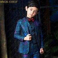 2019 New Arrival Fashion Boys Kids 5PCS Blazers Wedding Boy Suits Infantil Costume Garcon Children Wedding Suits Clothing 14T