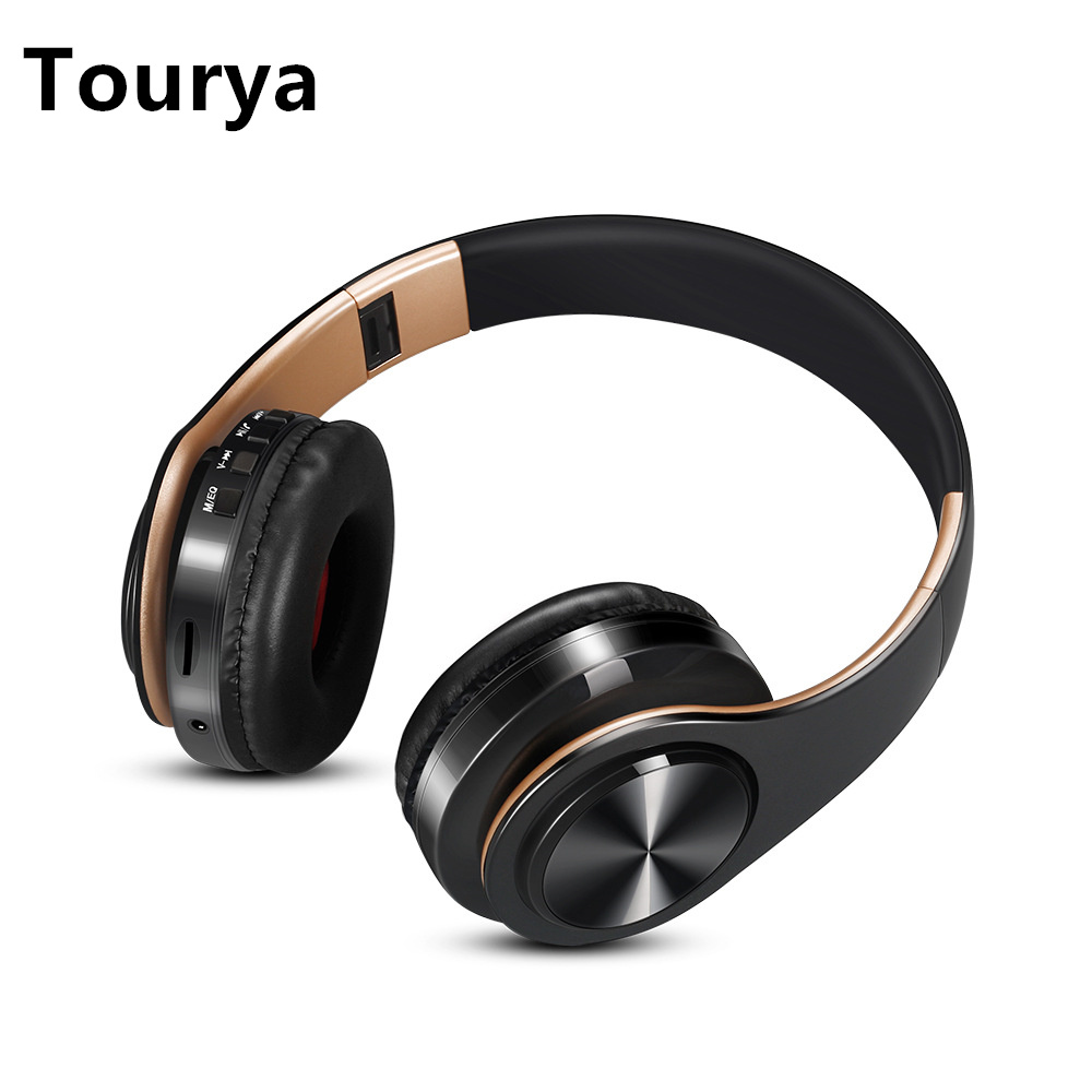Tourya Wireless Headphones Bluetooth Headphone Foldable Headset Music Stereo Earphones With Microphone For PC mobile phone Mp3 image