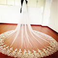 High-End New 3M Cathedral Long Wedding Veils Special Appliques Bridal Veil with Comb Wedding Accessories Bride Wedding Veil