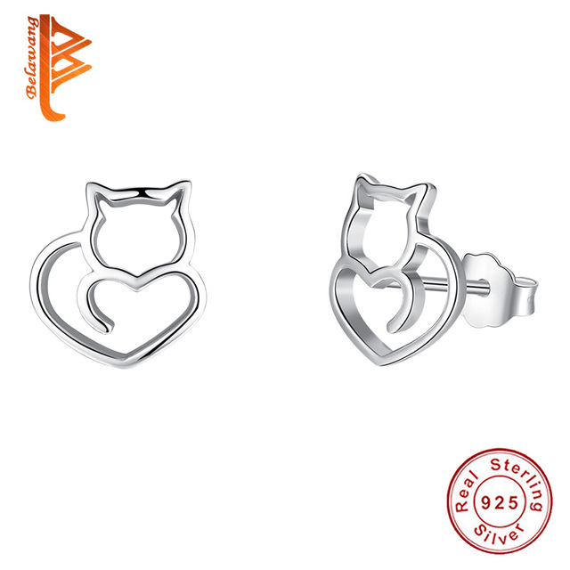 BELAWANG Authentic 925 Sterling Silver Cute Cat Small Stud Earrings for Women Fashion Sterling Silver Jewelry Cat Earrings